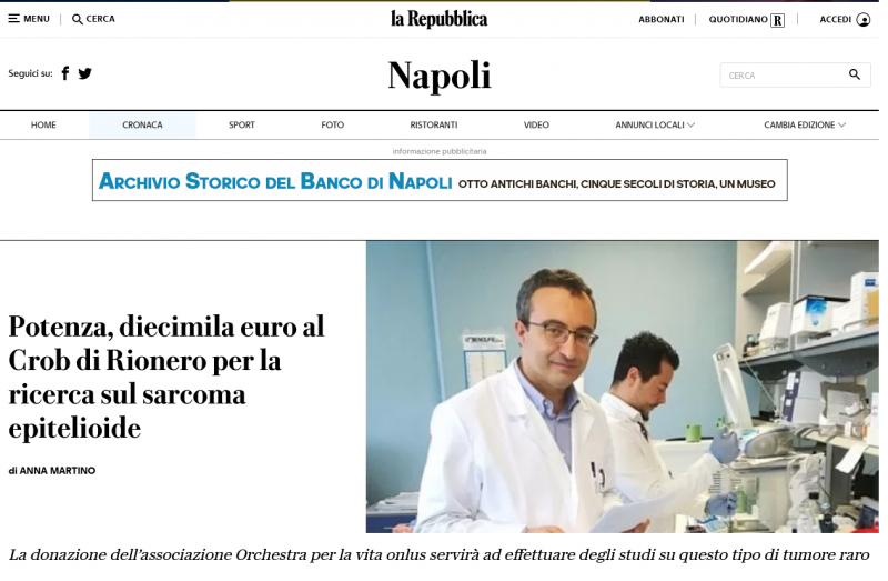 Ricerca presso il CROB; Prof. Alessandro Sgambato